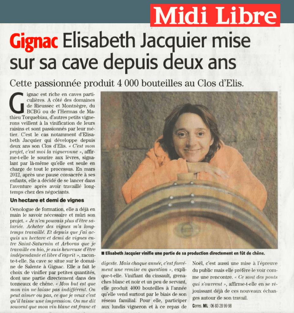 Article Midi-Libre Elisabeth Jacquier