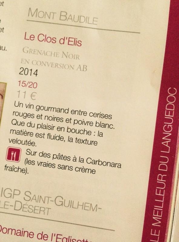 LES CLOS D'ELIS dans les 180 cuvées au TOP de la revue TERRE DE VINS 2